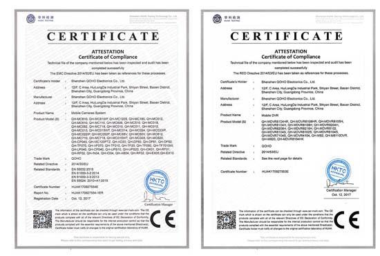 QOHO Car DVR CE-LVD certificate