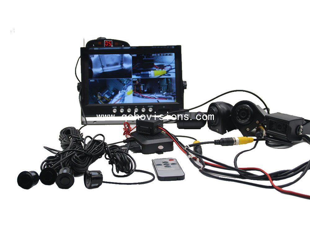 7inch Quad Monitor with 128GB SD slot,Radar system and Rear view camera system