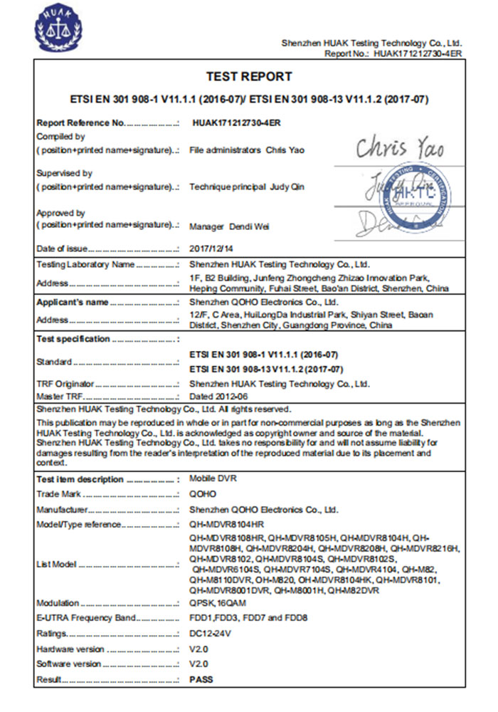 QOHO Mobile DVR CE LVD 4G test pass