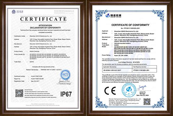 Vehicle-camera-CE-IEC62638-certificate